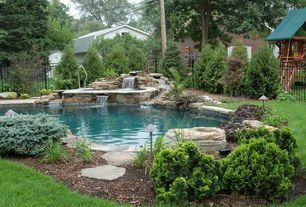 Rustic Swimming Pool with Fountain, French vanilla, Other Pool Type, Kettle falls granite, Water feature, Fence