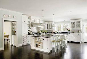 Traditional Kitchen with Plate rack, double oven range, Paint 2, Kitchen island, Large Ceramic Tile, Soapstone counters
