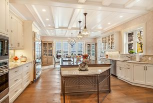 """Traditional Kitchen with Glass panel, Progress lighting antique bronze academy 1 light 12""""w full sized pendant, French doors"""