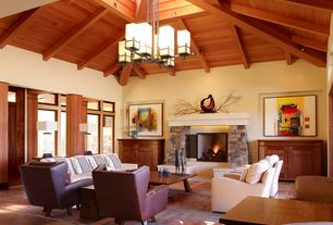 Contemporary Living Room with Fireplace, Chandelier, Built-in bookshelf, Exposed beam, Skylight, picture window, High ceiling