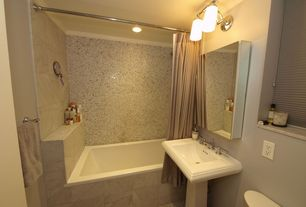 Contemporary Full Bathroom with Concrete tile , Crown molding, Wall sconce, MS International Crema Marfil Antique Marble