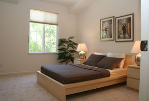 Modern Guest Bedroom with Large potted palm, MALM Bed frame, high, white stained oak veneer, Ikea Asele Table Lamp
