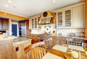 Country Kitchen with Flat panel cabinets, Complex granite counters, Glass panel, Breakfast nook, Raised panel, Stone Tile