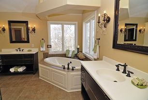 "Traditional Master Bathroom with Simple marble counters, Double sink, American standard white savona 60"" soaking bathtub"