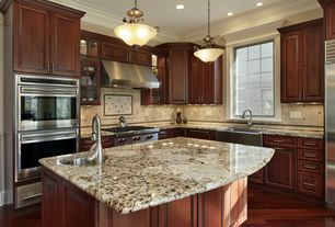 Craftsman Kitchen with Farmhouse sink, Golden persa, Complex granite counters, flush light, Limestone Tile, Flush, L-shaped