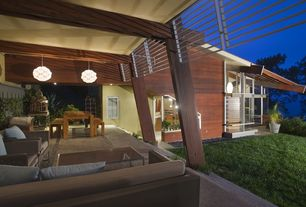 Contemporary Porch with French doors, Screened porch, Trellis