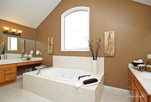 Traditional Master Bathroom with Master bathroom, Paint 1, Flat panel cabinets, wall-mounted above mirror bathroom light