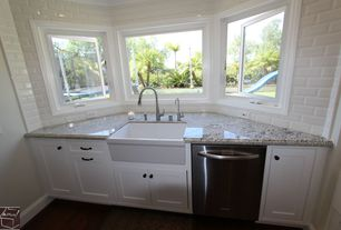 Country Kitchen with One-wall, Large Ceramic Tile, Casement, Complex granite counters, dishwasher, Flat panel cabinets