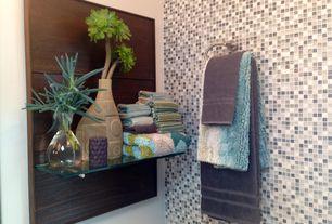 Contemporary Master Bathroom with Kiwi shelf brackets, Floating glass shelves 3/8 in. rectangle glass corner shelf, Paint 1