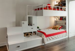 Contemporary Kids Bedroom with Hardwood floors, bedroom reading light, Built-in bookshelf, Standard height, Bunk beds