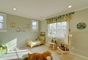 Traditional Kids Bedroom with Standard height, Crown molding, double-hung window, no bedroom feature, Carpet, can lights
