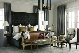 Contemporary Master Bedroom with Crown molding, Carpet, Madeleine shagreen gold coffee table, Chandelier