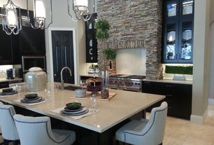 Contemporary Kitchen with Glass panel, L-shaped, Breakfast bar, Kitchen island, Custom hood, Stacked stone wall, Flush