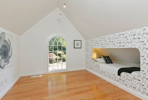 Contemporary Kids Bedroom with interior wallpaper, flush light, Hardwood floors, Arched window