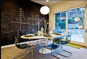 Modern Dining Room with Pendant light, Carpet
