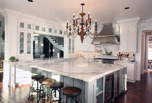 Traditional Kitchen with Carrara marble, Undermount sink, L-shaped, Flush, Flat panel cabinets, Complex Marble, Crown molding