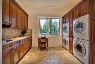 Traditional Laundry Room with Casement, Jeffrey court travertino gold 4 in. x 4 in. travertine floor and wall tile, Paint 1