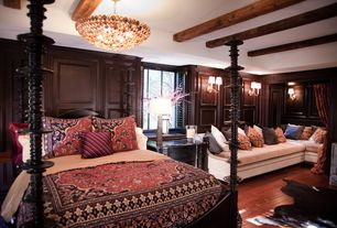 Traditional Master Bedroom with Wainscotting, Hardwood floors, Crown molding, Exposed beam, Wall sconce, Chandelier