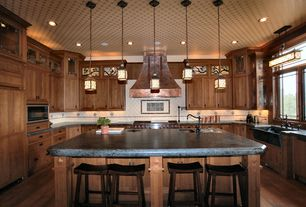 Traditional Kitchen with BDWG 33 in Single Bowl Concrete Kitchen Farmhouse Sink, Crown molding, Undermount sink, Stone Tile