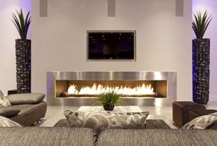 "Contemporary Living Room with Ethanol burner fireplace insert, Amantii 58"" Advanced Electric Fireplace-Modern Auburn Steel"