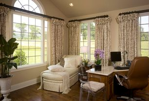 Traditional Home Office with Hardwood floors, Arched window, picture window, can lights, High ceiling