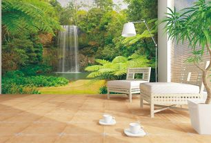 Tropical Living Room with Waterfall in spring wall mural wallpaper, Standard height, interior wallpaper, stone tile floors