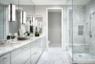 Contemporary Master Bathroom with Oregon tile and marble natural stone tile marble - white carrara, Handheld showerhead