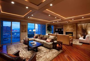 Contemporary Living Room with Coffered ceiling, Box ceiling, Hardwood floors