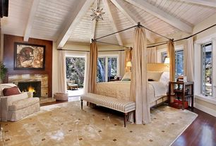 Contemporary Master Bedroom with French doors, Casement, Leather fireplace surround, Fireplace, Four poster bed, Exposed beam