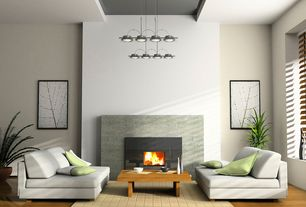 Contemporary Living Room with Eight pendant ceiling light, High ceiling, Pendant light, Laminate floors, Platform sofa