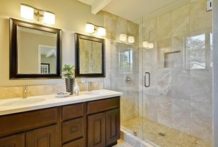 Contemporary 3/4 Bathroom with limestone tile floors, Wall sconce, Exposed beam, Built-in bookshelf, Standard height