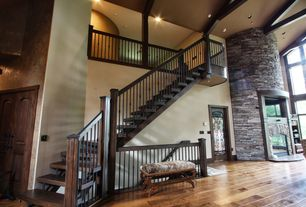 Rustic Staircase with Hardwood floors, Exposed beam, High ceiling