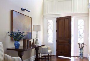 Traditional Entryway with Pendant light, picture window, Hardwood floors, bedroom reading light, specialty door, High ceiling