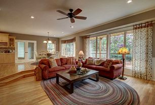 Country living room with hardwood floors sunken living room crown