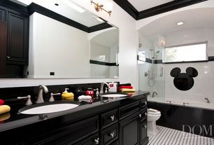 Contemporary Kids Bathroom with Simple Granite, partial backsplash, wall-mounted above mirror bathroom light, Standard height