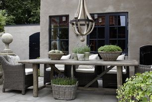 Mediterranean Patio with exterior stone floors, Fence, Gate