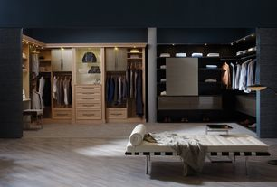 Contemporary Closet with Laminate floors, Columns, Built-in bookshelf, California Closets Walk-In Closet Custom Cabinetry