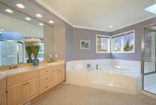 Modern Master Bathroom with Wood counters, Double sink, Daltile semi-gloss white 4-1/4 in. x 4-1/4 in. ceramic wall tile