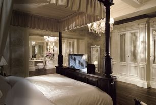 Traditional Master Bedroom with Chandelier, Standard height, interior wallpaper, Exposed beam, Hardwood floors, Crown molding