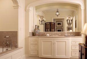 Traditional Master Bathroom with Standard height, Bathtub, Master bathroom, Crown molding, Inset cabinets, partial backsplash