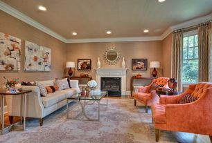 Contemporary Living Room with Hardwood floors, Crown molding, Colin Accent Chair, Cement fireplace, interior wallpaper