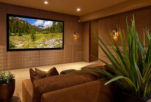 Contemporary Home Theater with Standard height, Wall mounted light, Upholstered sofa, can lights, Wall sconce, Carpet