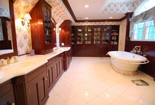 Traditional Master Bathroom with Standard height, interior wallpaper, six panel door, Wall sconce, Inset cabinets, Bathtub