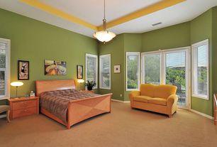Modern Guest Bedroom with Standard height, Carpet, French doors, Casement, flush light