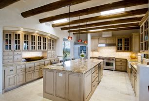 Contemporary Kitchen with Glass panel, two dishwashers, Raised panel, Pendant light, U-shaped, High ceiling, Kitchen island