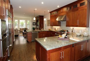 Traditional Kitchen with Kitchen Craft Salem Shaker, High ceiling, Flat panel cabinets, Galley, Hardwood floors, Ceramic Tile