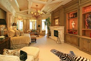 Traditional Guest Bedroom with Chandelier, Zebra skin rug, Cement fireplace, Carpet, Crown molding, High ceiling, Box ceiling