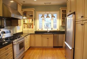Traditional Kitchen with Built-in bookshelf, Glass panel, Built In Refrigerator, Soapstone, Framed Partial Panel, can lights