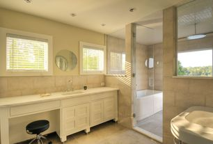 Contemporary Master Bathroom with frameless showerdoor, Flat panel cabinets, Vinyl floors, Corian counters, Inset cabinets