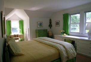 Traditional Master Bedroom with Built-in bookshelf, double-hung window, Carpet, Standard height